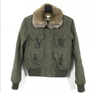 VINCE Military Green Bomber Jacket Fur Collar